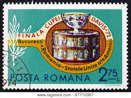 Postage Stamp Romania 1972 Tennis Racket And Davis Cup