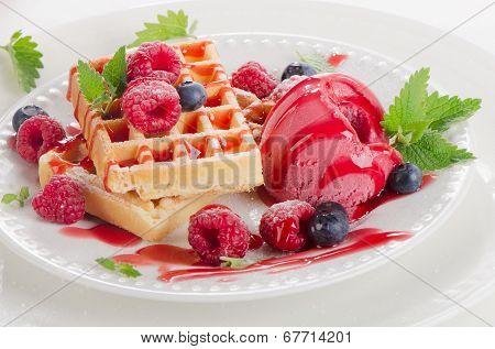 Belgian Waffles With Raspberries Sorbet