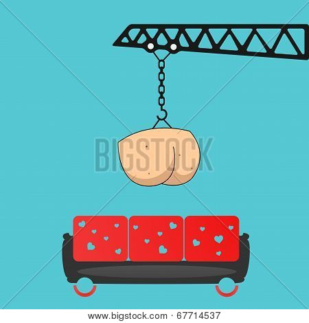 Delivery assholes on favorite sofa. Vector concept