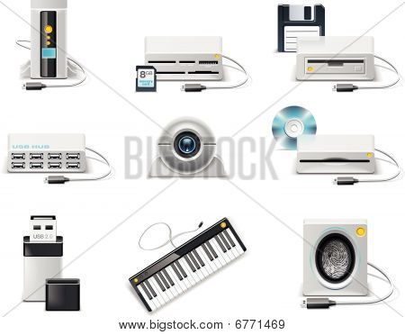 Vector white computer icon set. Part 3. USB devices