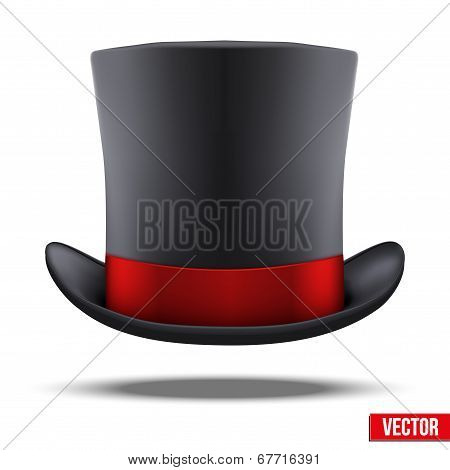 Black gentleman hat cylinder with red ribbon.