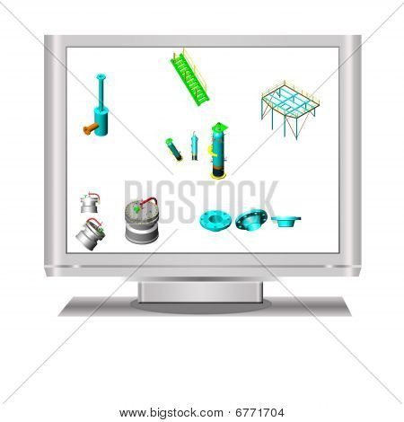 3D Object In Lcd Television