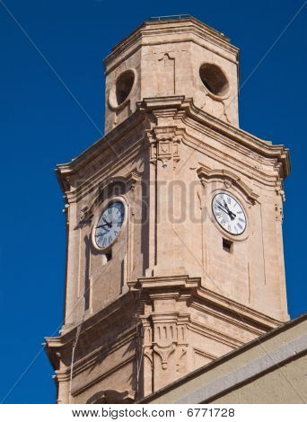 Clock tower. St. Francesco d'Assisi church. Monopoli. Apulia.