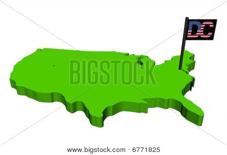 Karte von Usa mit Washington dc-flag