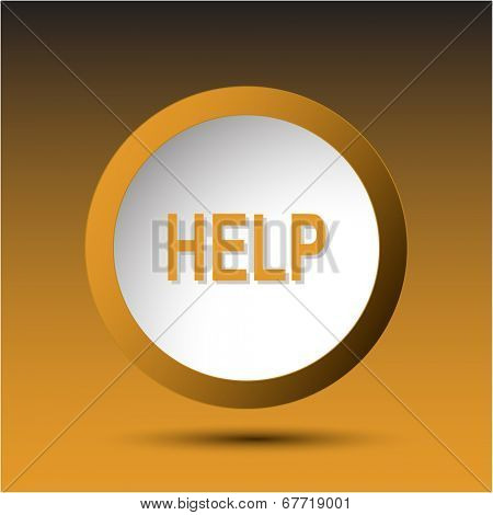 Help. Plastic button. Vector illustration.