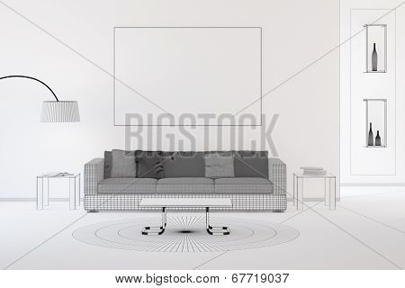 Wireframe CAD design of living room with sofa and carpet