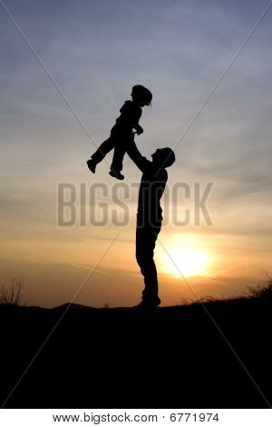 father and daughter - love in sunset