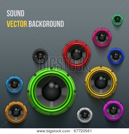 Colorful Sound Load Speakers on dark background.
