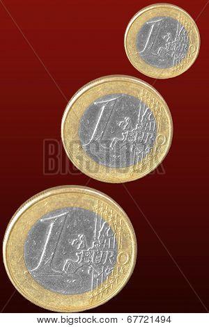 Coin Euro On Dark Background