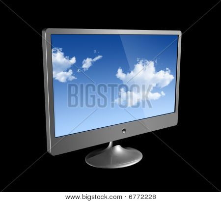 3D Computer Monitor Isolated On Black