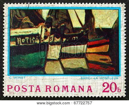 Postage Stamp Romania 1974 Boats At Montfleur, By Claude Monet