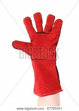 Red protective leather glove.