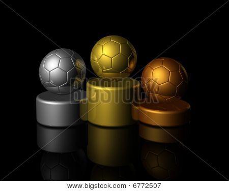 3D Soccer Winners Podium