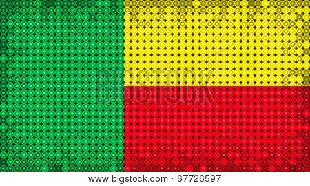 Flag Of Benin Lighting On Led Display