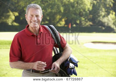 Senior man on golf course
