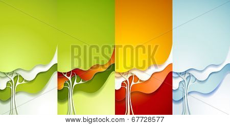 Four seasons - spring, summer, autumn, winter. Set of abstract paper tree.