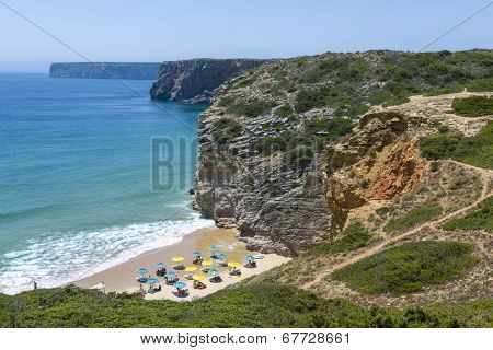 Charming Beach At The Atlantic Ocean In Sagres, Portugal