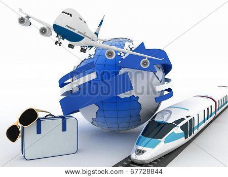 3d suitcase, airplane, train and globe. Travel and vacation concept. Trendy signs - summer and journey