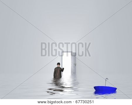 Man with umbrella in pure white room with open door
