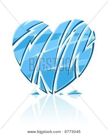 Broken Blue Icy Heart