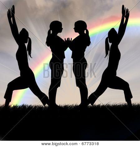 Female Silhouettes fitness yoga