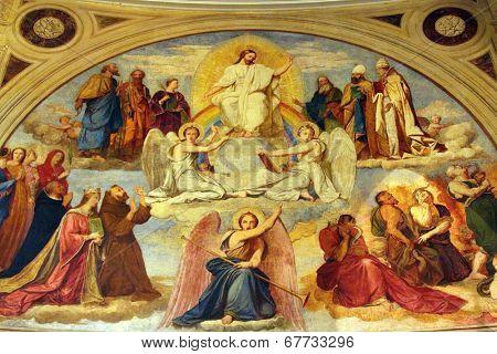 PARIS, NOV 07: Last Judgment, fresco, church of St. Elizabeth is situated in the 3rd arrondissement of Paris. Church was dedicated to Saint Elizabeth of Hungary in 1646. On Nov 7,2012 in Paris