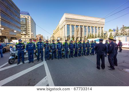 MOSCOW - JUNE 29: Police meeting before Bike Parade on June 29, 2014 in Moscow. Thousands of cyclists ride along the Garden Ring, to voice their concerns and require construction of new bicycle paths