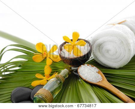 Spa set with spa oil ,towel salt in bowl ,candle, stones, on palm leaf