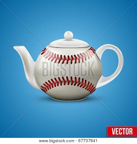 Ceramic Teapot In Baseball Ball Style. Vector Illustration.