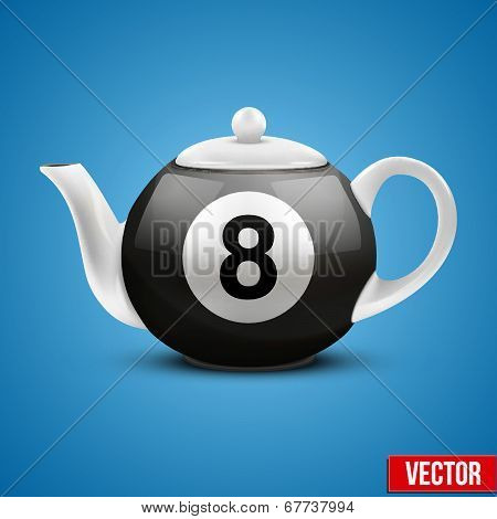 Ceramic Teapot In Billiard Pool Ball Style. Vector Illustration.