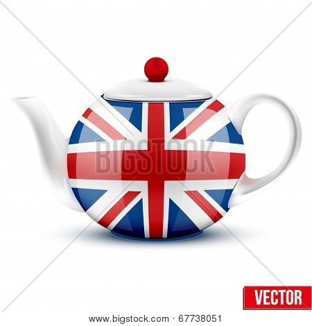 English ceramic teapot with flag of Great Britain.