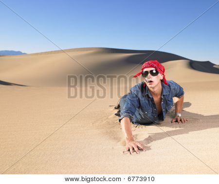 Young Man Wearing Sunglasses And Bandana