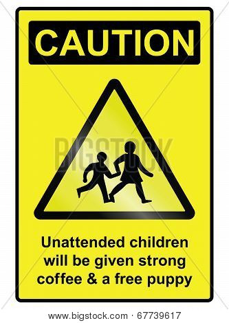 Unattended Children Hazard Sign