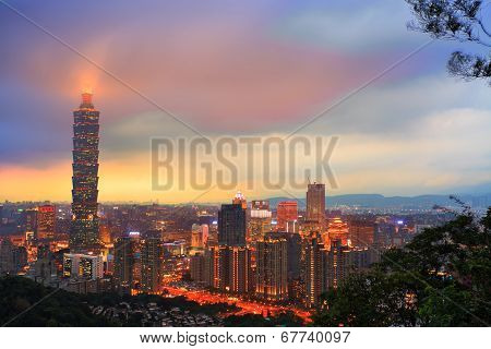 Taipei Taiwan City Skyline Buildings With Taipei 101
