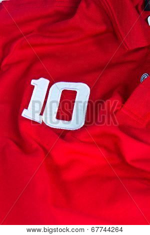 Number Ten On Red Shirt