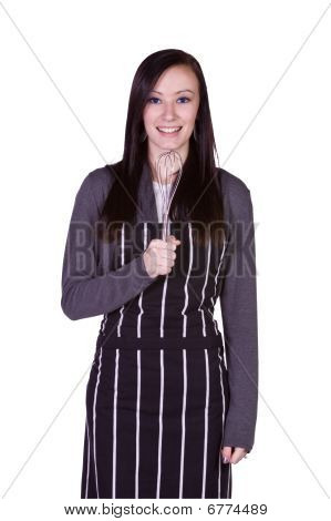 Beautiful Girl Having Fun In The Kitchen Singing