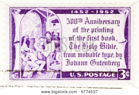 Usa - Circa 1952: A Stamp Printed By Usa Shows The 500Th Anniversary Of Printing The Gutenberg Bible