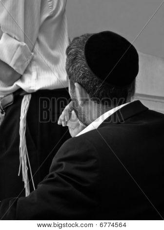 Religious Jewish man in  prayer