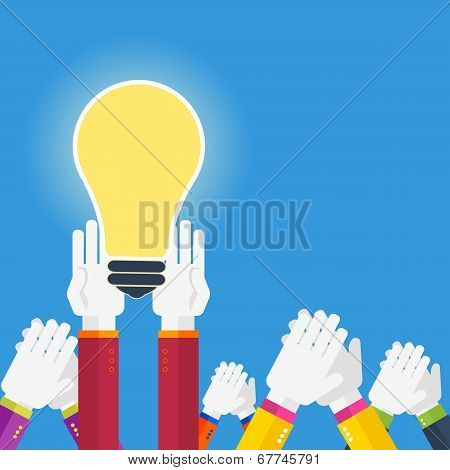 Hands With Lightbulb Idea