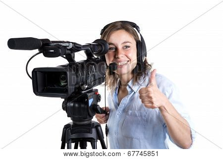 Young Woman With A Video Camera