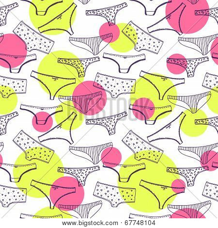 Seamless pattern wirh underclothes violet panties
