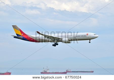 Asiana Airlines Airbus A330 Landing At Istanbul Ataturk Airport In Turkey