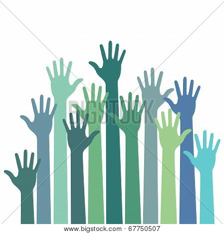 green - blue colorful up hands