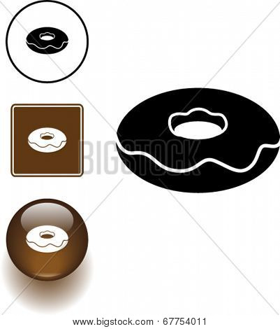 donut symbol sign and button