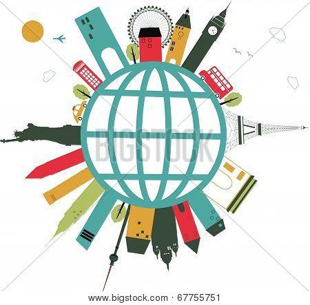 Travel Globe On White