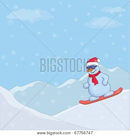 Snowman on a snowboard