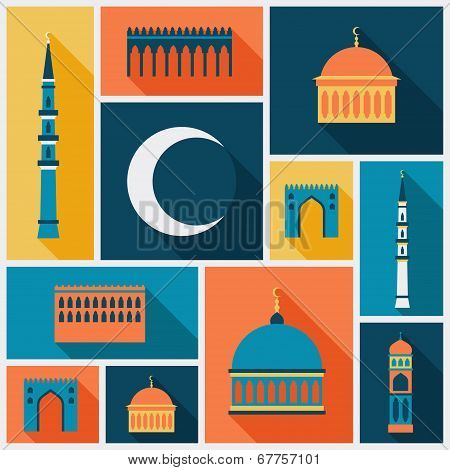 Islamic background with mosque in flat design style.