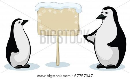 Emperor penguins with sign