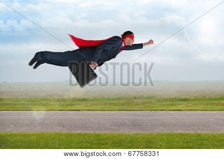 Superhero Businessman Flying