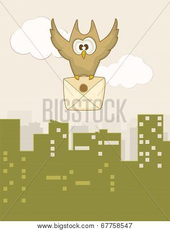 Cute flying owl